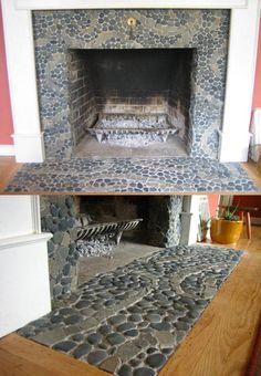 Charcoal Black pebble tile design with swirl stripe of Grey Stone Mosaic tile. Interesting design for fireplace stone. Tile Around Fireplace, Mosaic Fireplace, Fireplace Hearth, Stove Fireplace, Fireplace Surrounds, Fireplace Design, Fireplaces, Fireplace Stone, Fireplace Ideas