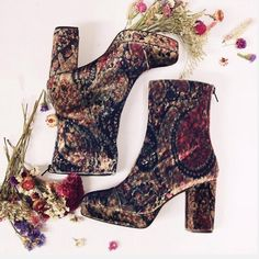 Free people day or night velvet boot rare floral Amazing sold out boots! New without box (small nick on the fabric of one shoe not noticeable) Free People Shoes Ankle Boots & Booties