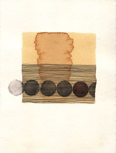 "Misato Suzuki, ""Circle #2""2009 6"" x 5""Ink, Coffee and Watercolor on Paper"