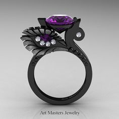 High Fashion Nature Inspired 14K Black Gold 3.0 Ct by artmasters
