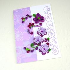 Paper Quilled Greeting Card Purple Daisy and Lavender Fringed Flowers Paper Quilling Birthday Congratulations Handmade by Enchanted Quilling via Etsy