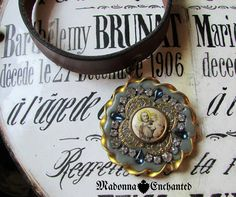 Madonna Enchanted choker necklace leather antique saint with rhinestones unique one of a kind Catholic jewelry assemblage by madonnaenchanted on Etsy