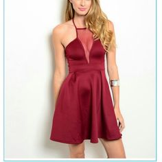 "Burgundy Mesh Neckline Dress Chalotte Russe Description: B: 16"" W: 12"" L: 34""  More description coming soon Charlotte Russe Dresses Midi"