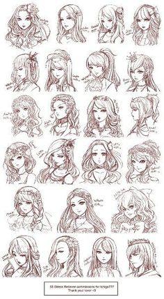 draw anime hair step