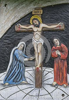 The Sacred Statue in Roznow , Poland. Stations of the Cross.