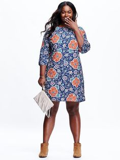 Women's Plus Patterned Shift Source by Shift Dress Pattern, Dress Patterns, Edgy Outfits, Fashion Outfits, Lawyer Outfit, African Print Dresses, Plus Size Kleidung, Weird Fashion, Plus Dresses