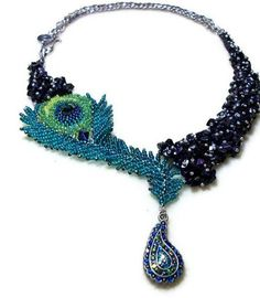 SALE Beaded Peacock Necklace, Asymmetrical in Blue, Purple, and Green.