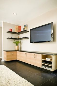 Get The Best Combine The Cabinets With Floating Shelves And Floating Boxes  And Turn A Blank · Living Room ...