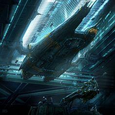 Spaceship in a docking bay, inspiration Spaceship Art, Spaceship Design, Spaceship Concept, Concept Ships, Concept Art, Stargate, Cyberpunk, Sci Fi City, Sci Fi Spaceships