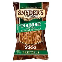 Snyder's® of Hanover The Pounder Pretzels Sticks - 16 oz Pretzel Bakery, Pretzel Snacks, Baking Packaging, Food Packaging Design, Cereal Recipes, Snack Recipes, Pretzel Brands, Best Burger Buns, Hanover Pretzels