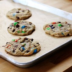 Perfect, dense, chewy, Chocolate Chip Cookies, loaded with M's!