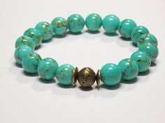 Beautiful Turquoise Magnesite gemstones with a brass focal bead.   • This is the perfect everyday bracelet.    • Wear this alone or layer with other bracelets for that bohe... #stretchy #trendy ➡️ https://www.etsy.com/listing/494859646/boho-bracelet-gemstone-stretch-bracelet?utm_campaign=products&utm_content=cf4297e8a8cb42e59eb54caf5b1e9375&utm_medium=pinterest&utm_source=sellertools