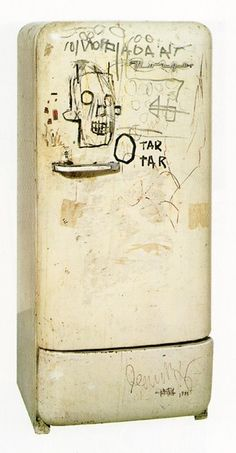 Untitled (Refrigerator), 1981 by Jean-Michel Basquiat.  Art Experience NYC  www.artexperiencenyc.com/social_login/?utm_source=pinterest_medium=pins_content=pinterest_pins_campaign=pinterest_initial