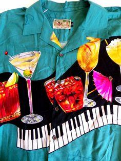 TORI RICHARD Rayon Hawaiian Camp Martini Piano Bar Shirt Sz XL MENS EUC #ToriRichard #Hawaiian