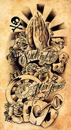 Ideas For Tattoo Sleeve Leg Deviantart Tattoo Design Drawings, Skull Tattoo Design, Tattoo Designs, Future Tattoos, Tattoos For Guys, Cool Tattoos, Chicano Tattoos, Skull Tattoos, Voll Arm-tattoos