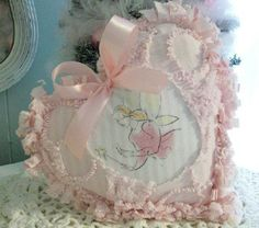Tooth Fairy Pillow Shabby Chic Heart ~Vintage Pink Chenille