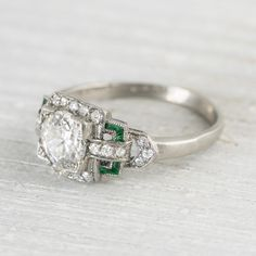 .99 Carat Diamond & Emerald Vintage Engagement Ring | Erstwhile Jewelry Co.