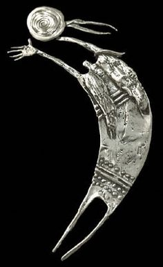 """Shaman Entering Spirit Journey"" by Bill Worrell, Sterling Silver Pin/Pendant"