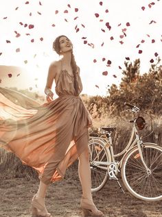 Elle-May Leckenby - Flowing Rope Halter Evening Gown - Peddled to the place, leaving petals in the trace. Romance by bike.
