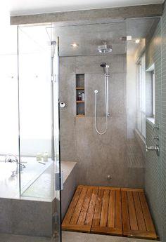 gray bathroom, wood shower floor, separate bathtub- want similar thing Grey Bathrooms, Bathroom Renos, Laundry In Bathroom, Beautiful Bathrooms, Bathroom Flooring, Bathroom Interior, Master Bathroom, Bathroom Ideas, Wooden Bathroom Floor