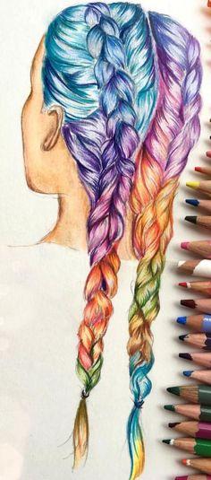 regenbooghaar i love it! Amazing Drawings, Beautiful Drawings, Cute Drawings, Drawing Sketches, Pencil Drawings, Amazing Art, Hair Drawings, Beautiful Beautiful, Cute Drawing Pictures