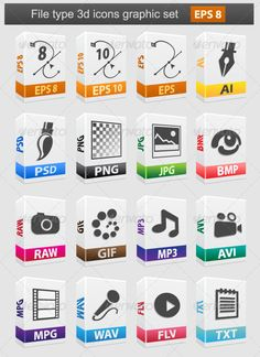 File type 3d icons.