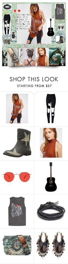 """""""The Girl Next Door"""" by rebel846 ❤ liked on Polyvore featuring Free People, WithChic, Lucky Brand, Garrett Leight, Yamaha, Zadig & Voltaire, Chan Luu, Valentino, Alexander McQueen and Victoria's Secret"""