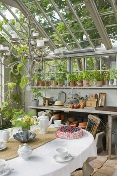 Sunroom/greenhouse...lovely.  Someone make this for me!!!!