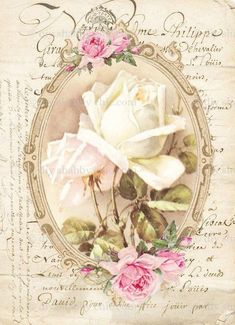 Furniture decals shabby chic french image transfer vintage Antique oval rose home Craft label script crafts scrapbooking card making Diy - Seifen Welt