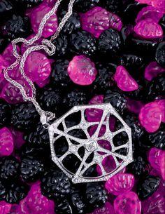 Photographed by Elisabeth Hoff.  Openwork pendant necklace by Bulgari.