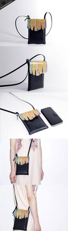 Handmade black custom leather small crossbody shoulder bag /handbag fo | EverHandmade