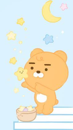 Cartoon Wallpaper Iphone, Soft Wallpaper, Kawaii Wallpaper, Cute Wallpaper Backgrounds, Pretty Wallpapers, Ryan Bear, Kakao Ryan, Apeach Kakao, Ghibli