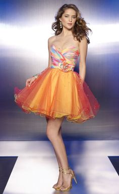 Another image of Sticks and Stones Tie Dye Print Tulle Short Prom Dress 9103