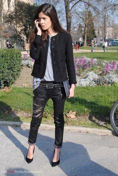 tweed Jacket + black skinny jeans