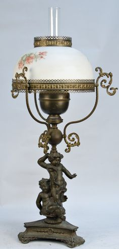 Ornate Victorian Countertop Bronze Oil Lamp w/ Floral Design Glass Shade, Featuring Figural Statue Of Small Children At Base - Duplex Made In England Victorian Lamps, Antique Lamps, Antique Lighting, Vintage Lamps, John Scott, Antique Light Fixtures, Globe Lamps, Lantern Chandelier, Happy House