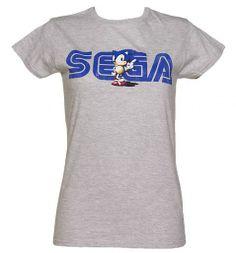 Ladies Vintage Sonic and Sega Logo T-Shirt from TruffleShuffle xoxo