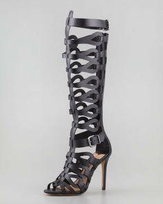 Schutz Eirini Knee-High Gladiator Sandal, Black on shopstyle.com