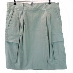 DKNY Green Mini Skirt 12 M Cargo Pockets Aquamarine Swishy NEW NWT Donna Karan #DKNY #StraightPencil