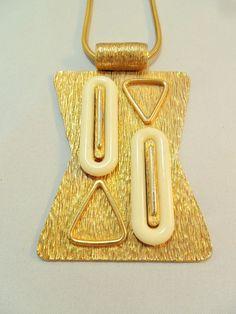 Vintage Pendant Necklace Snake Gold Tone Metal by KathiJanes, $79.95