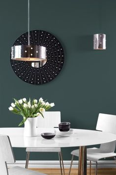 Night Watch Color Of The Year 2019 - a dark green kitchen wall paint color by PPG paints. Dark Green Kitchen, Green Kitchen Walls, Paint For Kitchen Walls, Dark Green Walls, Kitchen Paint Colors, Wall Paint Colors, Room Colors, Home Interior, Interior Design