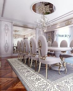 Royal palace style dining area with baby purple color chairs Luxury Dining Room, Beautiful Dining Rooms, Luxury Rooms, Luxurious Bedrooms, Luxury Living, Luxury Interior, Luxury Furniture, Home Interior Design, Furniture Design