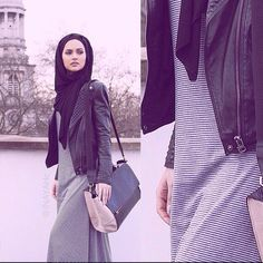 leather jacket, strip long dress and old bag. Love it