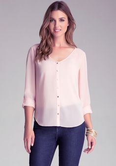 Bebe Hilo Shirt Blouse in Pink (rose)   Lyst