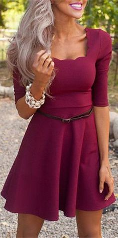 Scalloped Burgundy Dress ❤︎