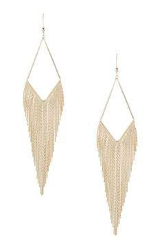Bansri Samaira Earrings: 18K gold plated slim snake chain fringe dangle earrings