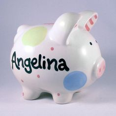 Personalized /& Custom With Name And Year First Financial Toy For Teaching Boys /& Girls About Saving Money Peace /& Love Girls Piggy Bank Small - Perfect Unique Gift Idea For Babys 1st Birthday