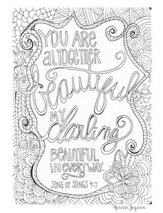you are altogether beautiful coloring page words - Pretty Pictures To Color