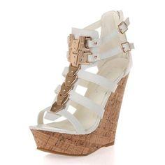 3bfeaaec92b25 Amazon.com  Bogata 04 Womens Metallic Embellished Embellished Platform  Strappy Open Toe Wedges White