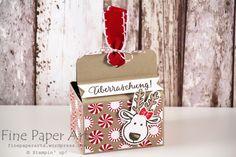"""Stampin up - Christmas Box, Weihnachtliche Lebkuchen Verpackung, Designerpapier Zuckerstangenzauber, Candy Cane Christmas, Produktpaket """"Ausgestochen Weihnachtlich, Cookie Cutter Christmas, Stempelset Drauf und Dran - Fine Paper Arts"""