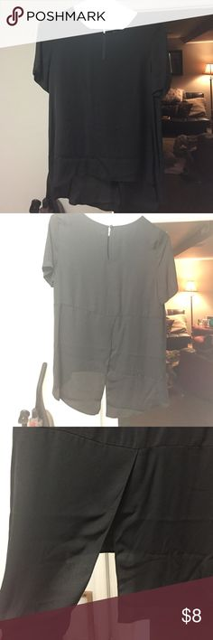 Black blouse Sheer black blouse never been worn don't have tags. High low shirt opens up on the back in the bottom. Tops Blouses
